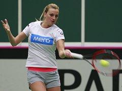 Petra Kvitová na tréninku před semifinále s Francií.