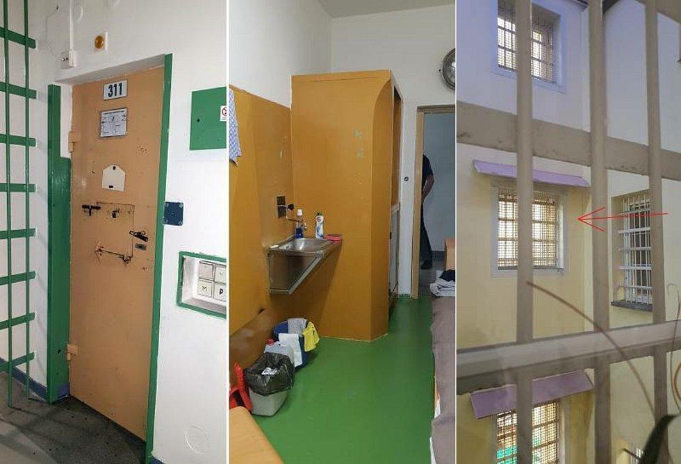 Vězeňská služba označila 7. ledna 2020 podmínky odsouzeného Davida Ratha v teplické věznici za standardní. Na kombinovaném snímku jsou zleva dveře Rathovy cely, její interiér a okno cely