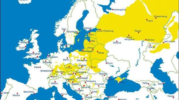 Klíšťata ovládla východní Evropu. Mapa výskytu (žlutá barva) klíšťové encefalitidy v Evropě.