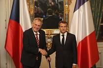 Miloš Zeman (vlevo) a Emmanuel Macron na Pražském hradě.