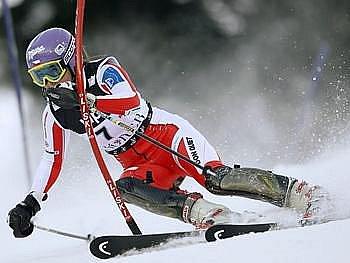 Šárka Záhrobská na trati záhřebského slalomu.