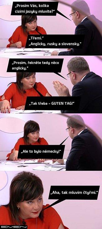 Některé vtipy připomínají všechny jazyky, o nichž ministryně prohlásila, že je ovládá