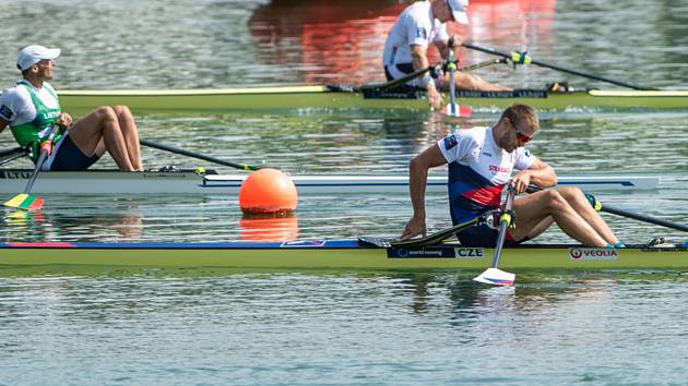 Mistrovství světa ve veslování, 1. září 2019 v rakouském Ottensheimu. Skifař Ondřej Synek, který skončil šestý