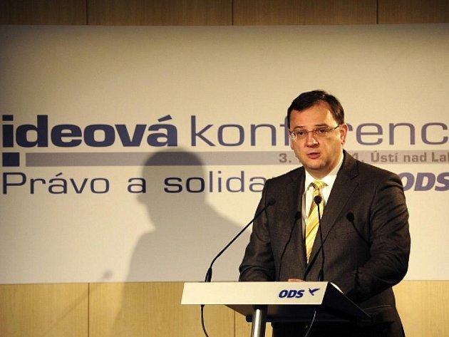 Premiér a předseda ODS Petr Nečas na programové konferenci strany v Ústí nad Labem.