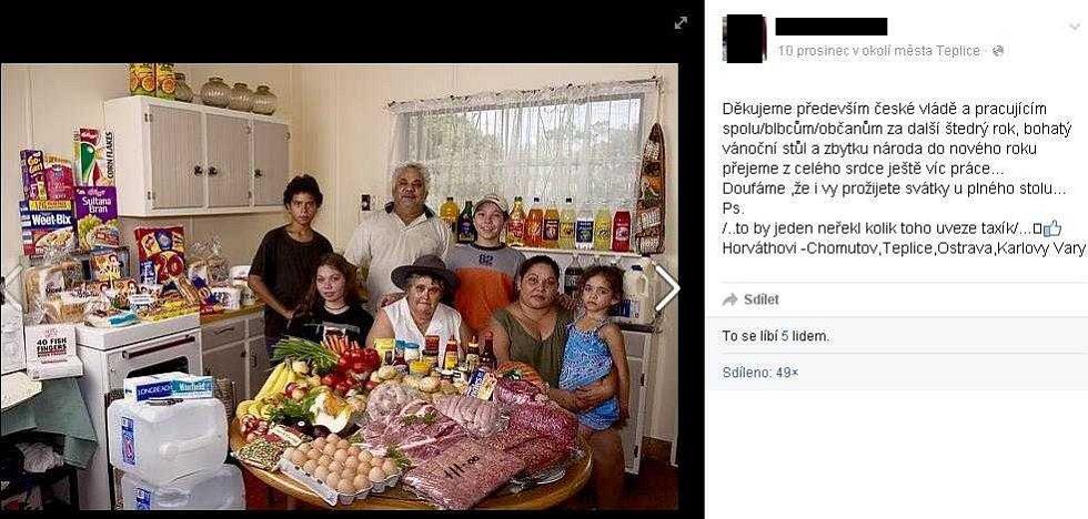 Zmanipulovaná fotografie, na níž má údajně být romská rodina s vánočními nákupy, pocházela z článkuo tom, kolik stojí jídlo na týden pro celou rodinu v různých státech světa, a na snímku byla rodina z Austrálie.
