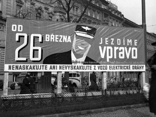Od 26.března 1939se vPraze jezdí vpravo.