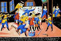 Lidové vyobrazení vraždy Valdštejnových důstojníků na Chebském hradě. Kvaš na papíře.