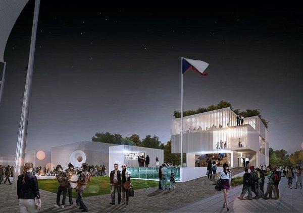 Modulární pavilon EXPO2015 vnoci