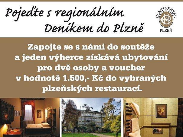Zapojte se s námi do soutěže a jeden výherce získává ubytování pro dvě osoby a voucher v hodnotě 1.500,-Kč do vybraných plzeňských restaurací.