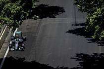 Nico Rosberg na trati v Baku.