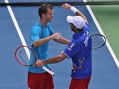 Adam Pavlásek (vlevo) a Radek Štěpánek se radují z výhry v Davis Cupu proti Indii.