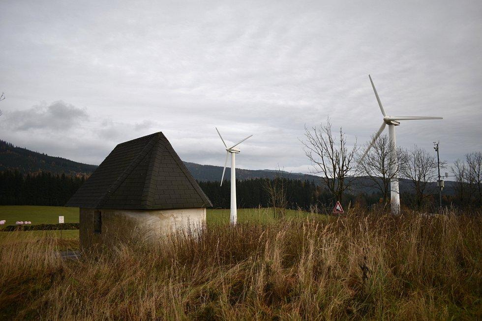 Větrné elektrárny vOstružné vJeseníkách.