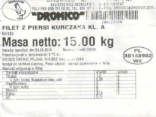 Etiketa masa zPolska, nakaženého salmonelou