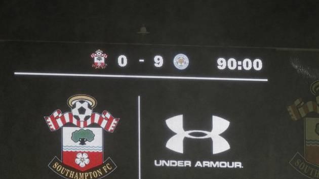 Rekordní konečný výsledek utkání anglické fotbalové ligy mezi Southamptonem a Leicesterm (0:9).