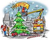 Vánoční strom na Staroměstském náměstí v Praze.