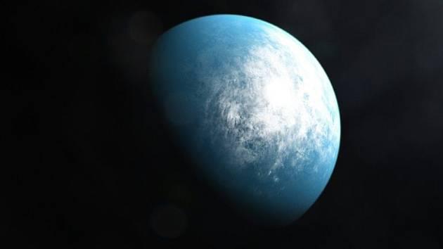 Umělecká vizualizace planety TOI 700 d, která představuje první obyvatelnou zónu podobné velikosti jako Země