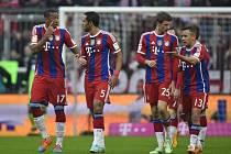 Fotbalisté Bayernu Mnichov při zápase s Hoffenheimem