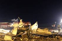 Místo havárie Boeingu 737 na kazaňském letišti.