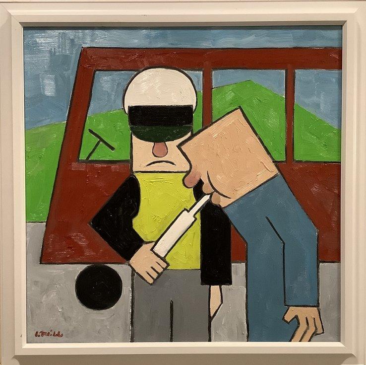 """Své oleje maluje v originálním """"antiperspektivním"""" stylu."""