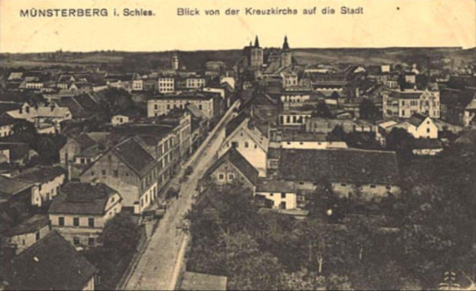 Dolnoslezské městečko Münsterberg ve 20. letech minulého století (dnešní polskéZiebice)