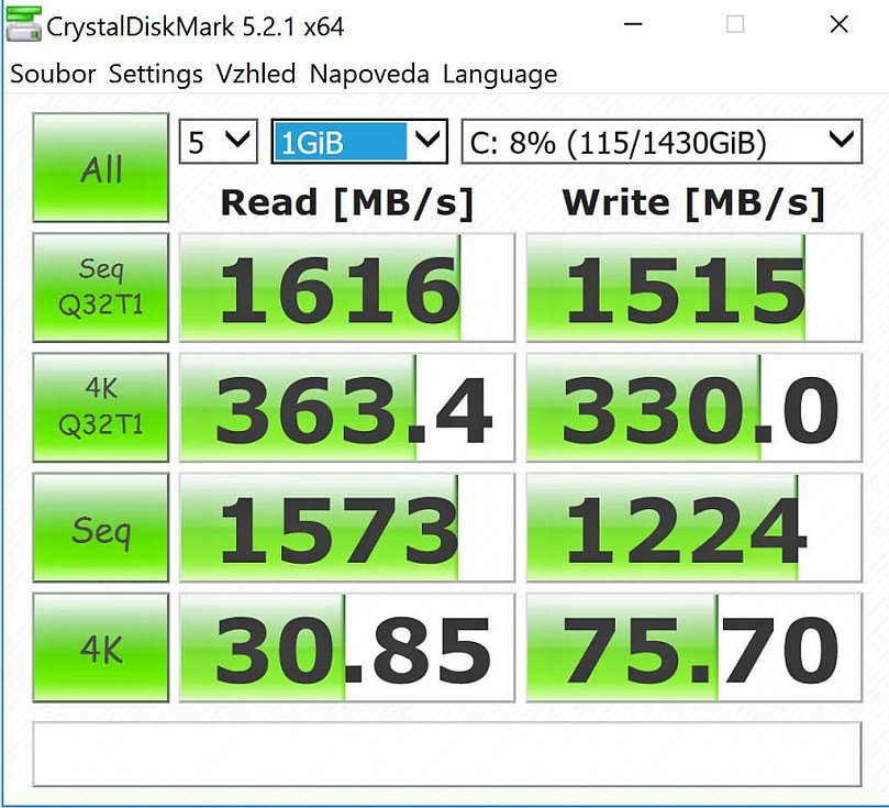Notebook Acer Predator 17 X - výsledek testu pomocí programu Crystal Disk Mark.