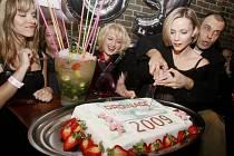 V pražské restauraci se konal večírek tvůrců a hlavních protagonistů populárního seriálu TV Nova Ordinace v růžové zahradě. Na snímku vpravo herečka Markéta Plánková a herec Petr Rychlý při krájení dortu.