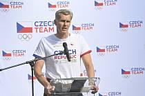 Předseda Českého olympijského výboru (ČOV) Jiří Kejval vystoupil 10. srpna 2021 v Praze na tiskové konferenci ČOV k událostem kolem leteckého speciálu.
