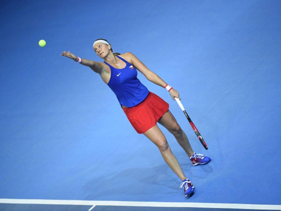 Petra Kvitová ve finále Fed Cupu proti Francii.
