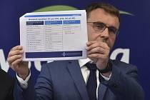 Ministr dopravy Vladimír Kremlík (za ANO) ukazuje seznam zimních nouzových odpočívek pro nákladní automobily 24. září 2019 v Jihlavě na tiskové konferenci k přípravě dálnice D1 na zimní období