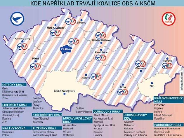 Zakázaná modro-rudá spolupráce bez jakýchkoli problémů běží v sedmašedesáti obecních radách po celé České republice.
