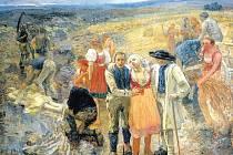 Rozměrná olejomalba Zabitý bleskem (1900–1901) je nedokončena, při její tvorbě malíř spáchal sebevraždu.