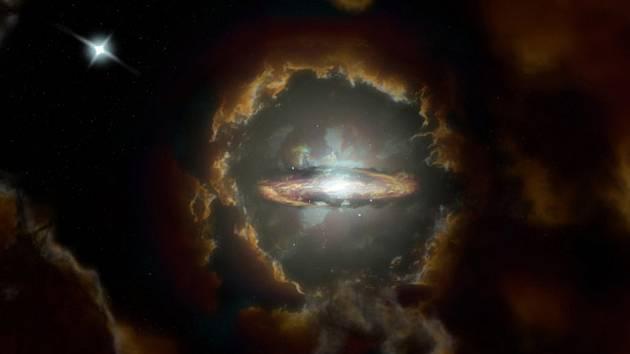 Umělecká představa nejstarší známé diskové galaxie, která se zřejmě rozzářila už půldruhé miliardy let po Velkém třesku