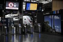 Vysokorychlostní vlak stojí na prázdném vlakovém nádraží Gare de L'Est v Paříži během stávky na snímku z 7. prosince 2019