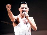 Zpěvák kapely Queen Freddie Mercury.