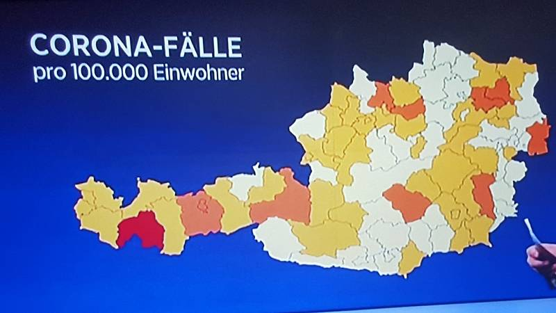 Mapa nákazy koronavirem v Rakousku