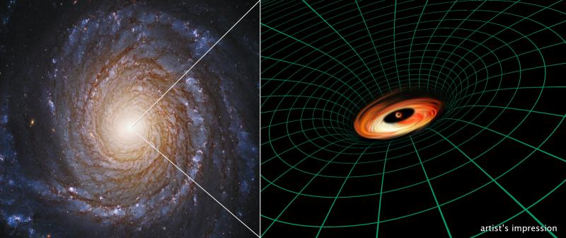 Snímek spirálové galaxie NGC 3147 z Hubbleova kosmického dalekohledu objevuje supermasivní černou díru, která leží v jádru galaxie
