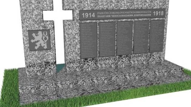 Československé legionáře z první světové války, kteří zemřeli v místní nemocnici, má připomenout památník v Kyjevě (na vizualizaci).