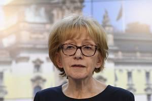 Bývalá ministryně spravedlnosti a nynější vládní zmocněnkyně pro lidská práva Helena Válková (ANO)