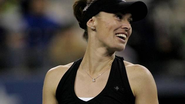 Bývalá tenisová hvězda Martina Hingisová na exhibici.