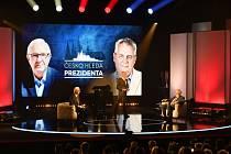 Prezidentští kandidáti Miloš Zeman (vpravo) a Jiří Drahoš se setkali 23. ledna v Praze k první televizní debatě před druhým kolem prezidentských voleb.