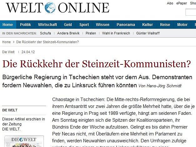 Článek německého deníku Die Welt o možném návratu komunistů v České republice