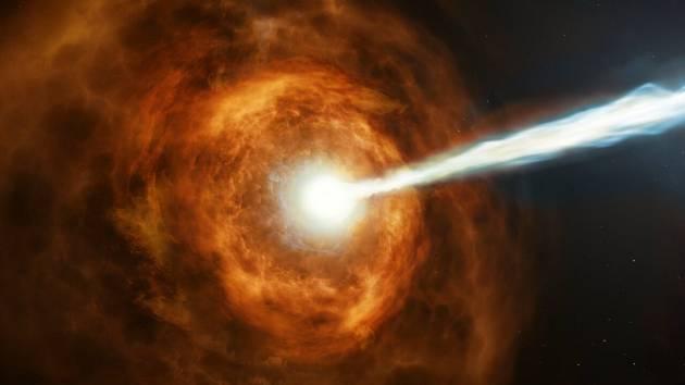 Umělecká představa události GRB 190114C, tedy exploze gama záblesku z galaxie vzdálené 4,5 miliardy světelných let, nacházející se poblíž souhvězdí Fornax. Událost byla zaznamenána v lednu 2019