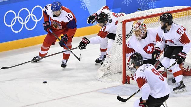 XXIII. zimní olympijské hry, hokej, muži, skupina A, ČR - Švýcarsko, 18. února v Kangnungu