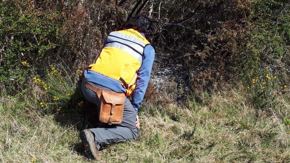 Geologové z Chilské národní geologické a těžební služby Sernageomin zkoumají spáleniště křovin