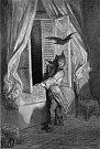 Nejslavnější literární dílo Edgara Allana Poea Havran, jak ho v roce 1884 ilustroval Gustave Doré.