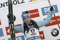 Olga Podčufarovová z Ruska slaví vítězství v Anterselvě