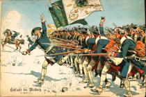 Pruský velitel vede v bitvě u Molvic pěchotu do útoku