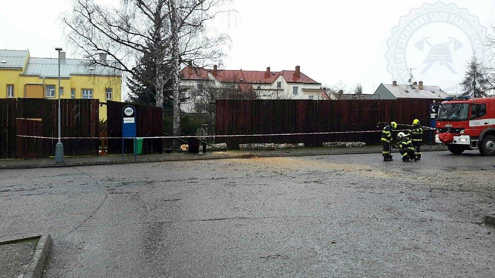 Silný vítr vyvrátil strom v Moravské Třebové