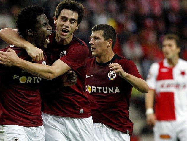 Sparta se raduje z gólu.