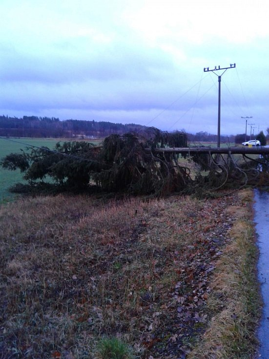 Škody na elektrickém vedení po bouři Sabine